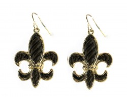Black Gold Stripe Pattern Fleur De Lis Hook Earrings