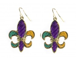 Mardi Gras Stripe Pattern Fleur De Lis Hook Earrings