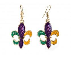 Mardi Gras Stripe Pattern Fleur De Lis Hook Earrings
