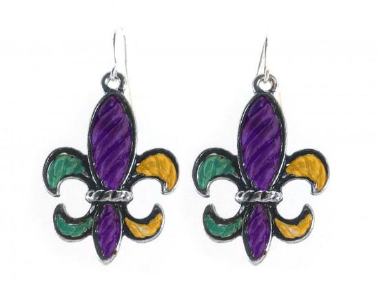 Mardi Gras Stripe Pattern Fleur De Lis Silver Hook Earrings