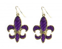 Purple Gold Stripe Pattern Fleur De Lis Hook Earrings