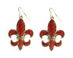 Red Gold Stripe Pattern Fleur De Lis Hook Earrings