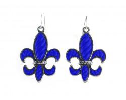 Blue Stripe Pattern Fleur De Lis Silver Hook Earrings