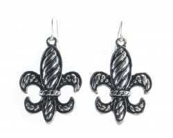 Silver Stripe Pattern Fleur De Lis Hook Earrings