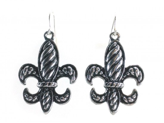Silver Diagonal Line Pattern Fleur De Lis Earrings