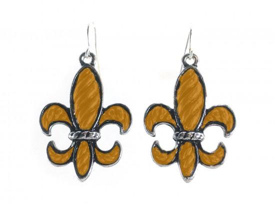 Orange Stripe Pattern Fleur De Lis Silver Hook Earrings