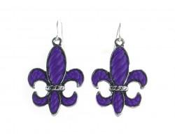 Purple Stripe Pattern Fleur De Lis Silver Hook Earrings
