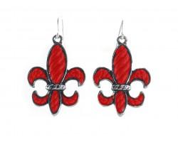 Red Stripe Pattern Fleur De Lis Silver Hook Earrings