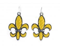 Yellow Stripe Pattern Fleur De Lis Silver Hook Earrings