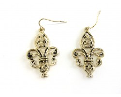 Gold Ornate Fleur De Lis Earrings