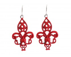 Red Ornate Fleur De Lis Earrings