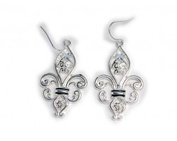 Silver Ornate Fleur De Lis Earrings