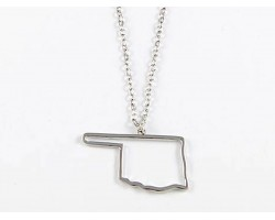 Oklahoma State Map Open Cut Silver Plate Necklace