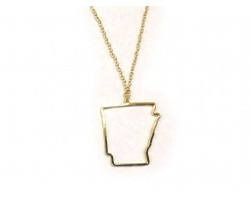 Arkansas State Map Open Cut Gold Plate Necklace