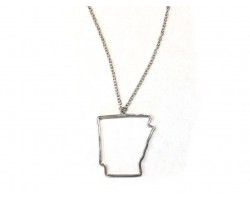 Arkansas State Map Open Cut Silver Plate Necklace