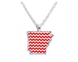 Arkansas Red White Chevron State Map Gold Plate Necklace
