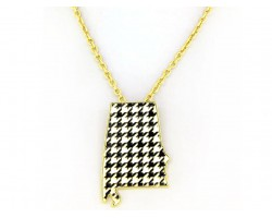 Alabama Black & White Houndstooth State Map Gold Necklace