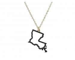 Black Louisiana State Map Open Cut Gold Necklace