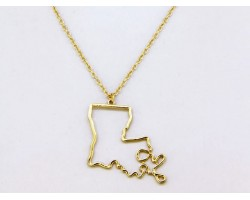 Gold Louisiana State Map Open Cut Necklace