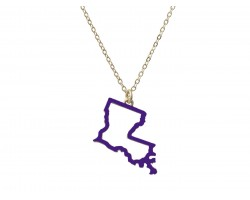 Purple Louisiana State Map Open Cut Gold Necklace