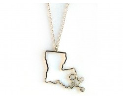 Silver Louisiana State Map Open Cut Necklace