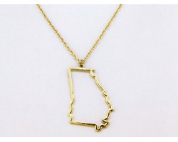 Georgia State Map Open Cut Gold Plate Necklace