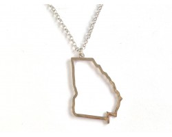 Georgia State Map Open Cut Silver Plate Necklace