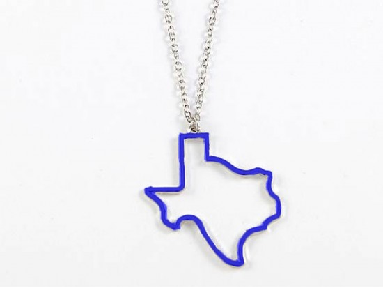 Blue Texas State Map Open Cut Necklace