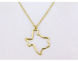 Gold Texas State Map Open Cut Necklace