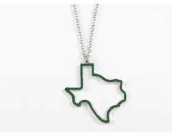 Green Texas State Map Open Cut Necklace
