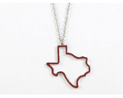 Maroon Texas State Map Open Cut Necklace