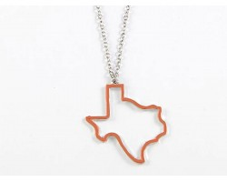 Orange Texas State Map Open Cut Necklace