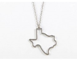 Silver Texas State Map Open Cut Necklace