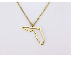 Florida State Map Open Cut Gold Plate Necklace