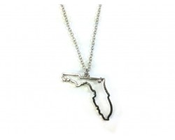 Florida State Map Open Cut Silver Plate Necklace