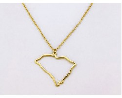 South Carolina State Map Open Cut Gold Plate Necklace
