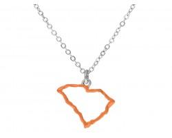 Orange South Carolina State Map Open Cut Silver Necklace
