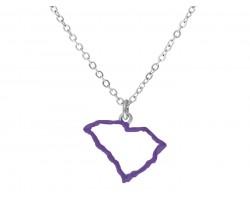 Purple South Carolina State Map Open Cut Silver Necklace