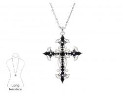 Jet Crystal Open Cut Filigree Cross Chain Necklace