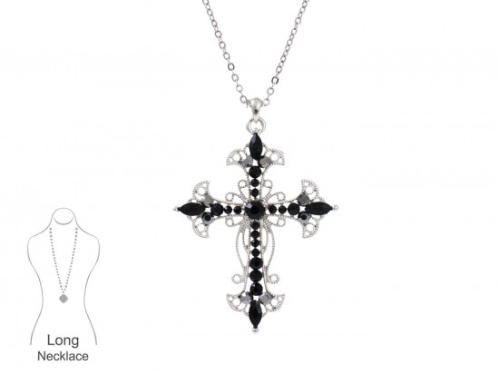 Jet Crystal Open Cut Filigree Cross Chain Necklace