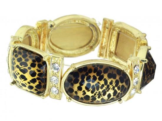 Gold Leopard Print Crystal Stretch Bracelet