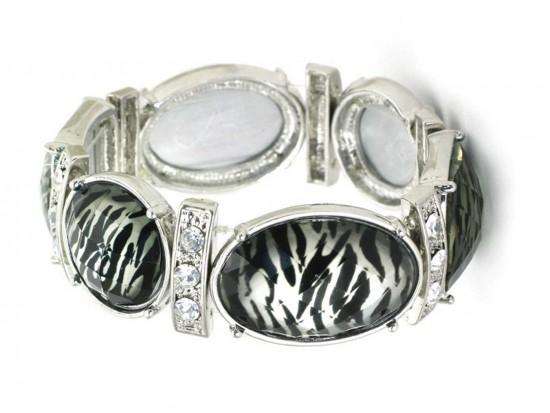 Silver Zebra Print Crystal Stretch Bracelet