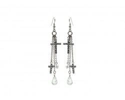 Silver Clear Crystal Cross Charms Hook Earrings