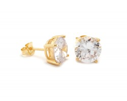 6mm Clear Cubic Zirconia Round Stud Gold Post Earrings