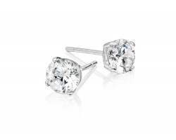 6mm Clear Cubic Zirconia Round Stud Silver Post Earrings
