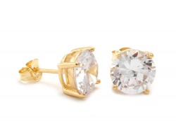 8mm Clear Cubic Zirconia Round Stud Gold Post Earrings