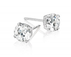 8mm Clear Cubic Zirconia Round Stud Silver Post Earrings