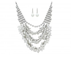 Clear Crystal Pearl Drop Tiered Necklace Set