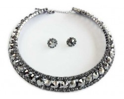 Hematite Crystal 16mm Wide Choker Set