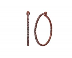 Antique Copper Memory Wire Crystal 45 mm Hoop Earrings